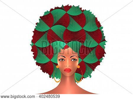 Portrait African American Woman Dark Skin Female Face With Afro Curly Hair And Earrings, Vector Isol