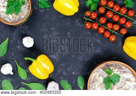 A And Fresh Vegetables. Headcheese.the National Dish Of Russian, Ukraine And Belarus. .jelly. Tomato