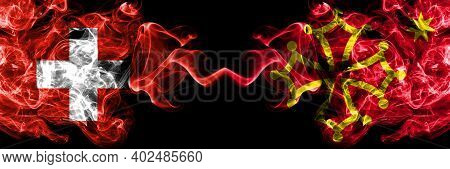 Switzerland, Swiss Vs Occitania Smoky Mystic Flags Placed Side By Side. Thick Colored Silky Abstract