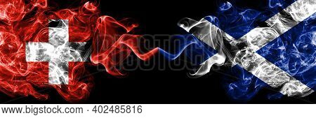 Switzerland, Swiss Vs Scotland, Scottish, Scots Smoky Mystic Flags Placed Side By Side. Thick Colore