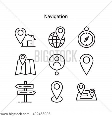 Set Of Pin Location Vector Or Navigation Icon, Location Pin Vector On White Background. Map Point Ic