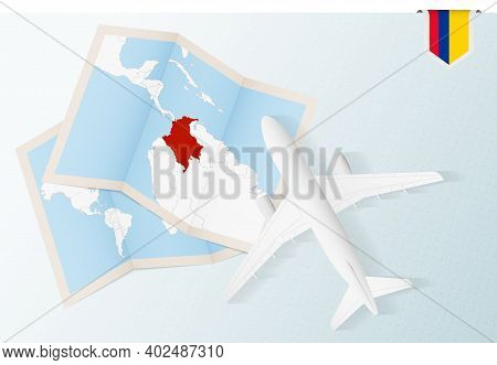 Travel To Colombia, Top View Airplane With Map And Flag Of Colombia. Travel And Tourism Banner Desig
