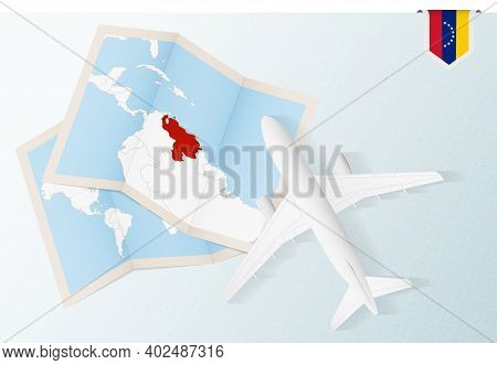 Travel To Venezuela, Top View Airplane With Map And Flag Of Venezuela. Travel And Tourism Banner Des