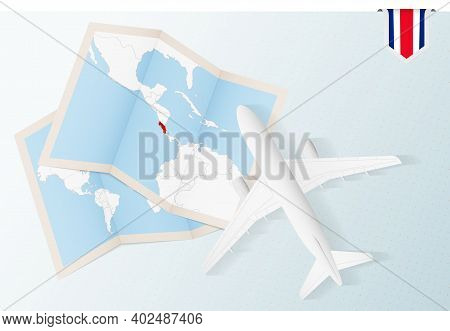 Travel To Costa Rica, Top View Airplane With Map And Flag Of Costa Rica. Travel And Tourism Banner D