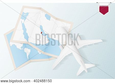 Travel To Qatar, Top View Airplane With Map And Flag Of Qatar. Travel And Tourism Banner Design.