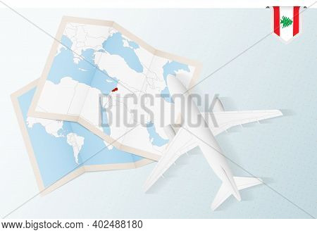 Travel To Lebanon, Top View Airplane With Map And Flag Of Lebanon. Travel And Tourism Banner Design.