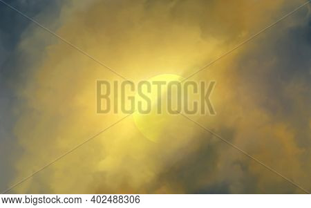 Abstract Heavenly Watercolor Background In Blue, Yellow Colors. Sky And Sun. Copy Space, Horizontal