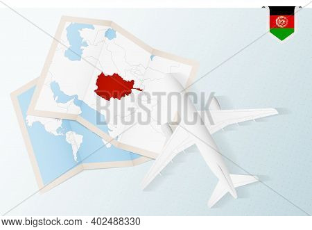 Travel To Afghanistan, Top View Airplane With Map And Flag Of Afghanistan. Travel And Tourism Banner