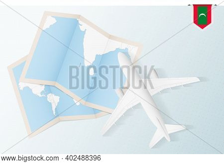 Travel To Maldives, Top View Airplane With Map And Flag Of Maldives. Travel And Tourism Banner Desig