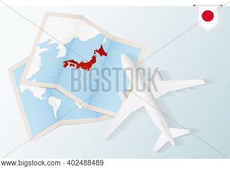 Travel To Japan, Top View Airplane With Map And Flag Of Japan. Travel And Tourism Banner Design.
