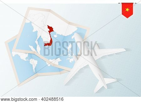 Travel To Vietnam, Top View Airplane With Map And Flag Of Vietnam. Travel And Tourism Banner Design.