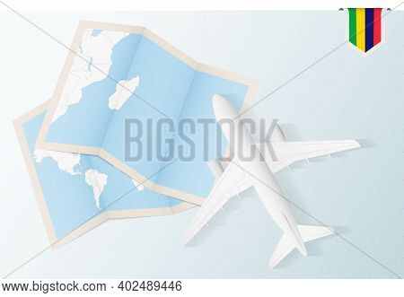 Travel To Mauritius, Top View Airplane With Map And Flag Of Mauritius. Travel And Tourism Banner Des