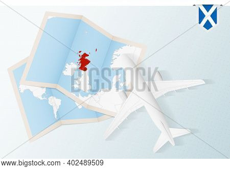Travel To Scotland, Top View Airplane With Map And Flag Of Scotland. Travel And Tourism Banner Desig