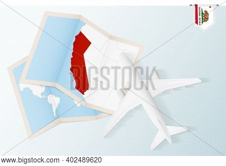 Travel To California, Top View Airplane With Map And Flag Of California. Travel And Tourism Banner D