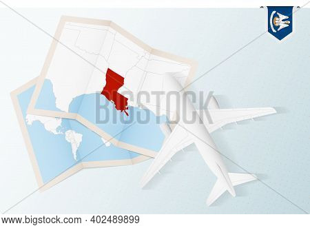 Travel To Louisiana, Top View Airplane With Map And Flag Of Louisiana. Travel And Tourism Banner Des