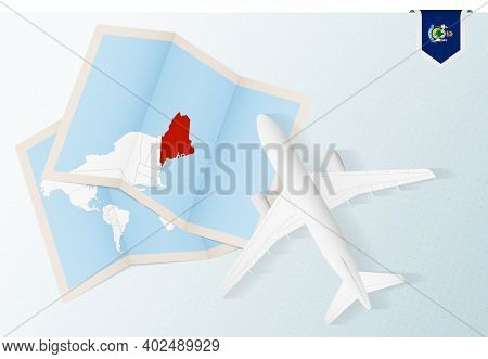 Travel To Maine, Top View Airplane With Map And Flag Of Maine. Travel And Tourism Banner Design.