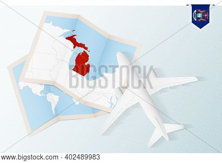 Travel To Michigan, Top View Airplane With Map And Flag Of Michigan. Travel And Tourism Banner Desig