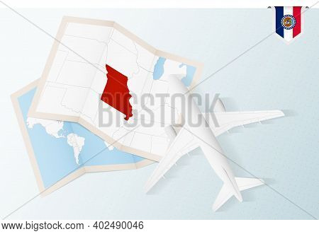 Travel To Missouri, Top View Airplane With Map And Flag Of Missouri. Travel And Tourism Banner Desig