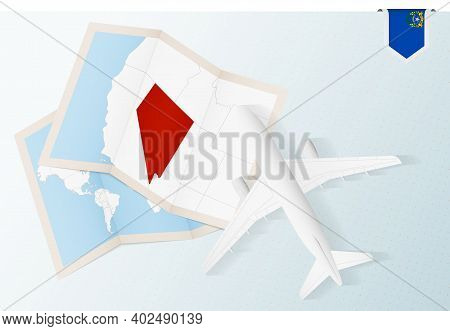 Travel To Nevada, Top View Airplane With Map And Flag Of Nevada. Travel And Tourism Banner Design.