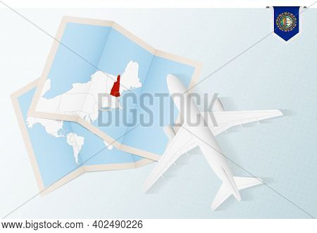 Travel To New Hampshire, Top View Airplane With Map And Flag Of New Hampshire. Travel And Tourism Ba