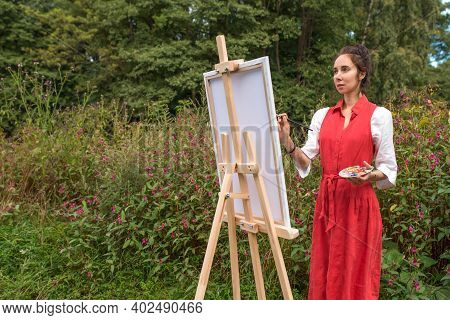Beautiful Woman In A Red Dress White Shirt, Summer Park Forest, Draws Picture, Creating Landscape Fr