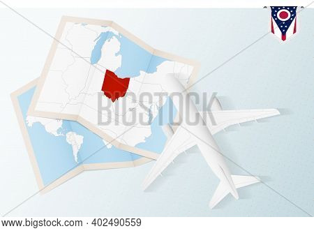Travel To Ohio, Top View Airplane With Map And Flag Of Ohio. Travel And Tourism Banner Design.