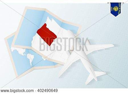 Travel To Oregon, Top View Airplane With Map And Flag Of Oregon. Travel And Tourism Banner Design.
