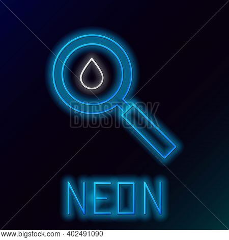 Glowing Neon Line Oil Drop Icon Isolated On Black Background. Geological Exploration, Geology Resear
