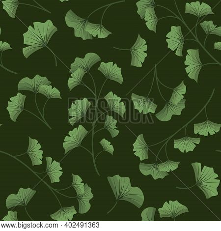 Vector Seamless Pattern With Ginkgo Biloba On Dark Green Background; For Wrapping Paper, Packaging,