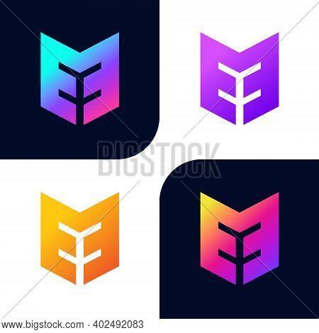 Modern Creative Unique Colorful E And M Letter Logo Icons Vector Design.