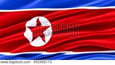 Republic Of North Korea. Waving Fabric Flag Of North Korean, Silk Flag Of North Korea. 3d Render