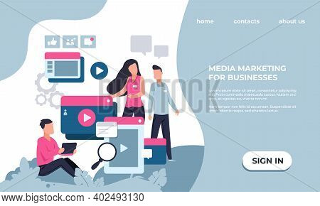Marketing Landing Page. Modern Seo And Business Analytics. Colorful Website Interface Design With Le