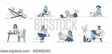 People With Laptop. Cartoon Men And Women Working With Computers At Home Or Outdoor. Isolated Freela