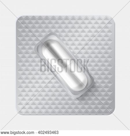 Capsule In Blister. Realistic 3d Drugs. Isolated Oval Pill In Individually Packaging. Textured Silve