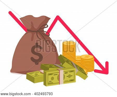 Money Loss. Economic Crisis Or Bankruptcy. Cartoon Bag With Gold Coins And Bundles Of Banknotes. Gra