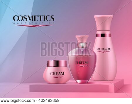 Podium With Cosmetics. Realistic 3d Pedestal And Beauty Product For Branding. Collection Of Bottles