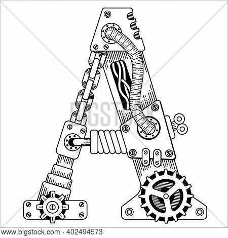 Steampunk Coloring Book For Adults. Mechanical Letter Alphabet Made Of Metal Gears And Various Detai