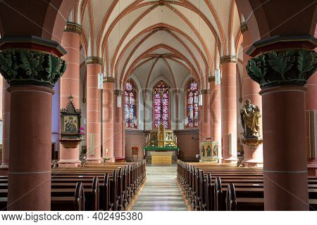 Bernkastel, Germany - June 16, 2020: View Throught The Main Aisle Of The Parish Church Saint Agatha