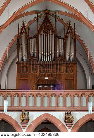 Bernkastel, Germany - June 16, 2020: Organ Of The Parish Church Saint Agatha On June 16, 2020 In Ber