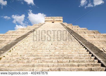 The Kukulkan Pyramid, Aka El Castillo, A View From Below The Stairs. Chichén Itzá, Yucatan, Mexico