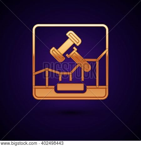 Gold Online Internet Auction Icon Isolated On Black Background. International Trade Concept. Investm