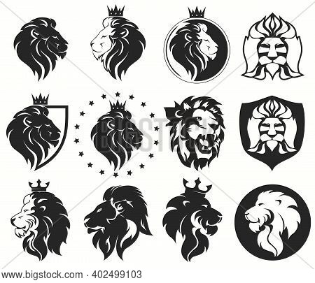 Lion Head With Crown Set, Royal Cat. Golden Luxury Emblem. Vector