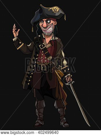 Sly Smiling Cartoon Man In Pirate Clothes With Saber In Hand