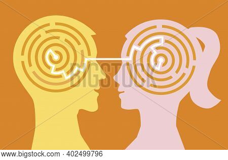 Male Anf Female Stylized Heads Silhouettes With Maze Symbolizing Understanding Between Man And Woman