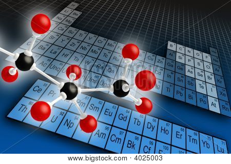 Molecule structure and periodic table of elements. Digital illustration. poster