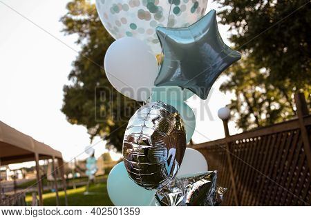 Bouquet Of Colorful Balloons. Colorful Balloons Filled With Helium, In The Summer , Autumn , Spring