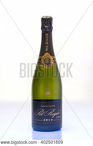 Beautiful View Champagne Bottle  Pol Roger Isolated On White Background.  Alcohol Concept. 01.09.202