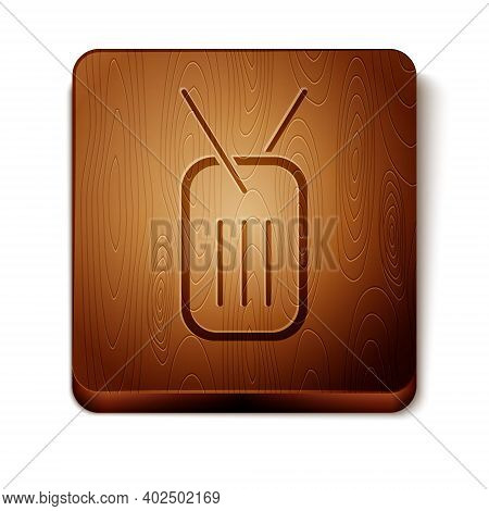 Brown Military Dog Tag Icon Isolated On White Background. Identity Tag Icon. Army Sign. Wooden Squar