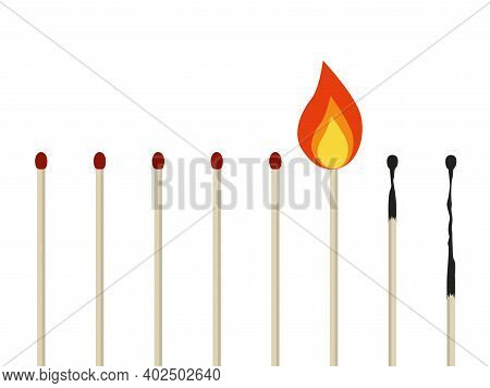 Emotional Burnout Concept. Vector Illustration In Cartoon Flat Style. Burning Matches Isolated On A