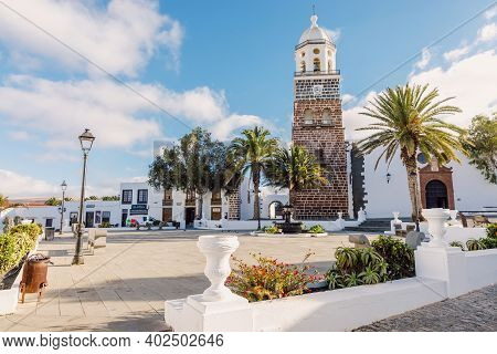 Teguise, Lanzarote, Spain - April 04, 2020. The Old Architecture Of City Of Teguise. Church Iglesia